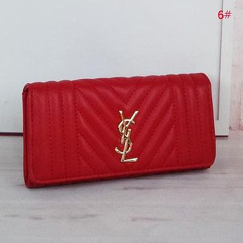 YSL Women Fashion New Wallet Leather Handbag Purse Red