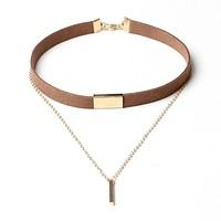 2017 New Velvet Short Necklace Gold Chain Strip Short Section Necklace Women With Leather Double Chain Chain Pendant Collar