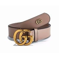 GUCCI Fashionable Woman Men GG Smooth Buckle Leather Belt Apricot