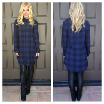 Keenan Plaid Dress By BB Dakota - BE38573 - BLUE
