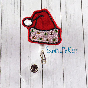 Christmas Feltie, Santa's Hat with Rhinestones Felt Badge Reel with retractable badge reel. A great gift for your favorite nurse, coworker