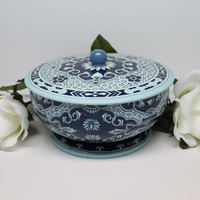 Blue and Gold Design England Printed Tin Bowl Container with Lid