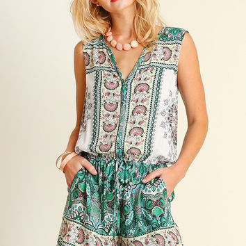 Tickle Me Tribal Print Romper - Green