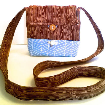 Handmade Cotton Handbag with Bead Embroidery  - Woodgrain - Blue Chevron - 100% Cotton Crossbody Purse - Festival Bag - Hand Embroidered