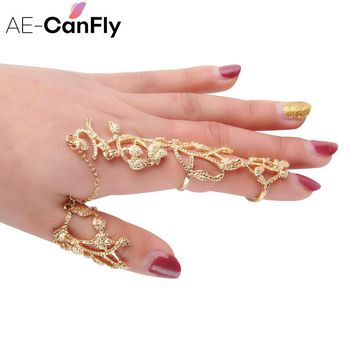 AE-CANFLY Hollow Flower Full Finger Rings Gold or Silver Chain Link Armor Knuckle Open Ring US 7 2D3021