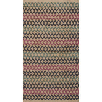 Jaipur Rugs Accent Solid Pattern Blue/Pink Jute Area Rug CP33 (Rectangle)