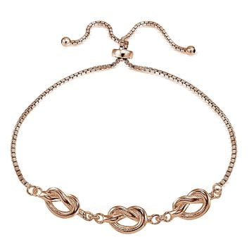 Rose Gold Tone over Sterling Silver Polished Pretzel Love Knot Adjustable Bracelet