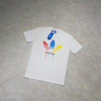 """Adidas"" Unisex Sport Casual Multicolor Letter Clover Print Short Sleeve Couple T-shirt Top Tee"