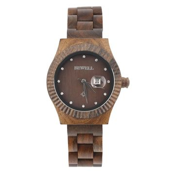 BEWELL Wooden Women's Watche with Crystal Scale Auto Date Quartz Brand Analog Wood  Wrist Watch Relogio Masculino