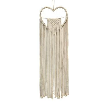 Vintage Heart Shaped Macrame Wall Hanging