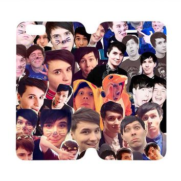 DAN AND PHIL COLLAGE Wallet Case for iPhone 4/4S 5/5S/SE 5C 6/6S Plus Samsung Galaxy S4 S5 S6 Edge Note 3 4 5