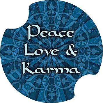 Thirstystone Peace Car Cup holder Coaster Love and Karma 2Pack