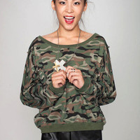 Studded Camo Sweatshirt | Timeless Boutique