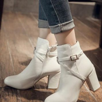 New Women White Round Toe Chunky Buckle Fashion Martin Boots