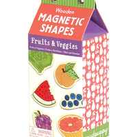 Galison Mudpuppy Fruits & Veggies Shapes Wooden Magnetic Sets