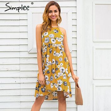 Simplee Halter floral print mini dress women Summer style casual boho dress 2018 Spring clothes beach short dress vestidos