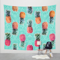 From Pineapple to Pink - tropical doodle pattern on mint Wall Tapestry by Micklyn