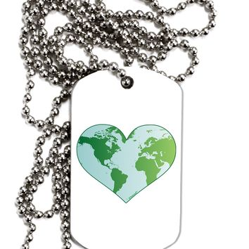 World Globe Heart Adult Dog Tag Chain Necklace by TooLoud
