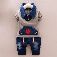 BibiCola Baby Boys/girls Clothing Sets Spring Autumn Baby sport suit toddler Clothes Top+jean Pants infant children Clothes sets