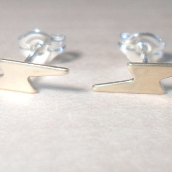 Lightning Bolt Stud Earrings on 925 sterling silver posts