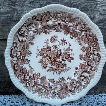 """Antique Dinner Plate, COPELAND SPODE 10 3/4"""" Plate, Floral, Scalloped Edge, Brown Transferware, Ironstone, Embossed, 1920s"""