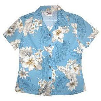 sky hawaiian lady blouse