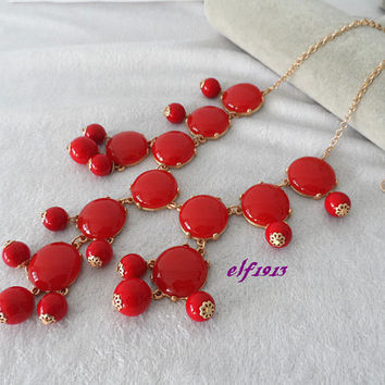 Classic Big Size Bubble necklace, Bib necklace, Statement Necklace, best for dinner,Red (b207)