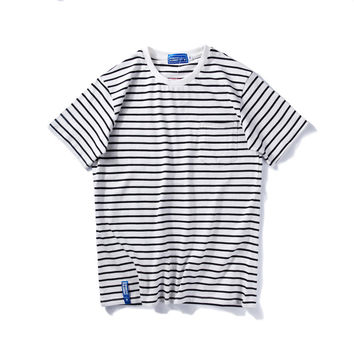 Summer Stripes Short Sleeve Sea Cotton Casual Tops T-shirts [9790785475]