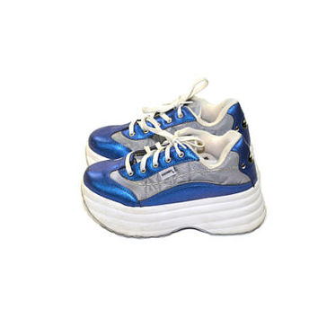 Vintage Platform Sneakers Skechers Platform Sneakers Blue Skechers Sneakers Blue Tennis Shoes 90s Platform Sneakers Size 6