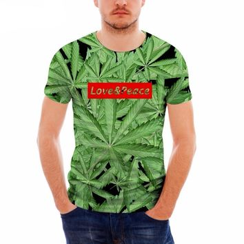 Funny Weed Tees - Love & Peace - Above the Rest - Lightweight Men's T-Shirt