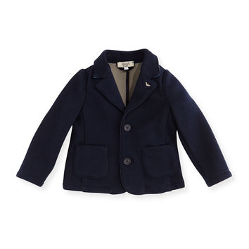 Two-Button Cotton-Blend Blazer w/ Elbow Patches, Navy, Size 12-24 Months, Size: