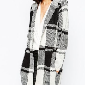 Vero Moda Check Print Hooded Coatigan