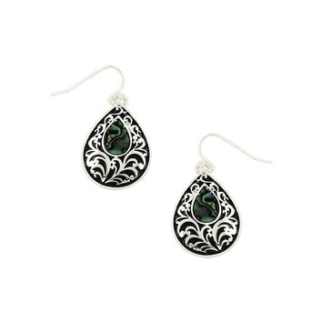 Filigree and Abalone Filled Tear Drop Earrings