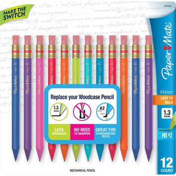 Paper Mate Mates Mechanical Pencils, 1.3mm, Colored Barrels, Dozen | Staples