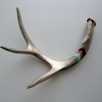 Silver, Blue, Mustard & Oxblood Chevron Painted Antler - Large