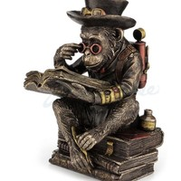 Steampunk Chimpanzee Scholar Studying Davinci Quote Sitting on Books Statue 7.5H