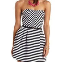 Striped & Belted Strapless Skater Dress - Black Combo