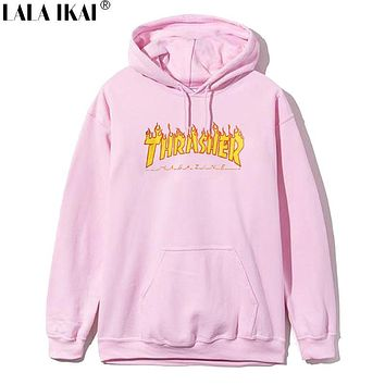 Thrasher Hoodie Pink Hooded Cotton Hoodies Men Women Hip Hop Brand Trasher Hoodie Thrasher Skateboard Sweatshirts Men SMR0801-5