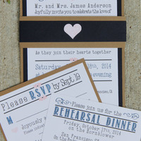 Handmade Wedding Invitation, Navy Blue and Brown, Belly Band, Invite, RSVP, SAMPLE SET