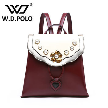 W.D. POLO Women's Classical genuine leather bolsa backpack peony stylish flower design lady hand bags high chic luxury bag M2505