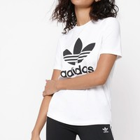 adidas Adicolor White and Black Trefoil T-Shirt at PacSun.com