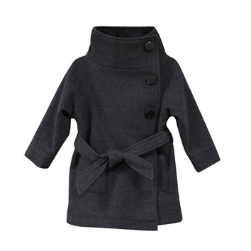 New Fashion Girls Children Jackets Baby Little Single Breasted Child Coat Girl Jackets Bow Girl Clothes Outerwear 01 NW