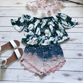 Maia Floral Boho Off Shoulder Top