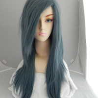 20% OFF Valentines Sale / Misty Night / Blue Grey / Long Straight Layered Wig Halloween Holiday