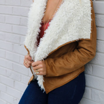 New Rebels Camel Suede Moto Jacket With Faux Fur Lining