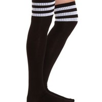 Sporty-Striped Over-the-Knee Socks by Charlotte Russe