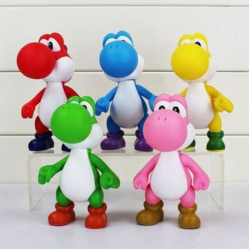Super Mario party nes switch 5pcs/lot  Bros Yoshi Hand Movable PVC Figure Dolls Kid Toys AT_80_8