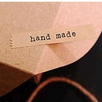 """""""Hand Made"""" craft paper long adhesive seals stickers labels homemade DIY tags for cookie cake gift packaging decoration"""