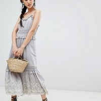 Moon River Embroidered Midi Dress at asos.com