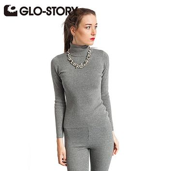 GLO-STORT Women's Sweater 2017 New Turtleneck Long Sleeves Basic Casual Sweaters Feminine Solid Knitted Pullover WMY-4273